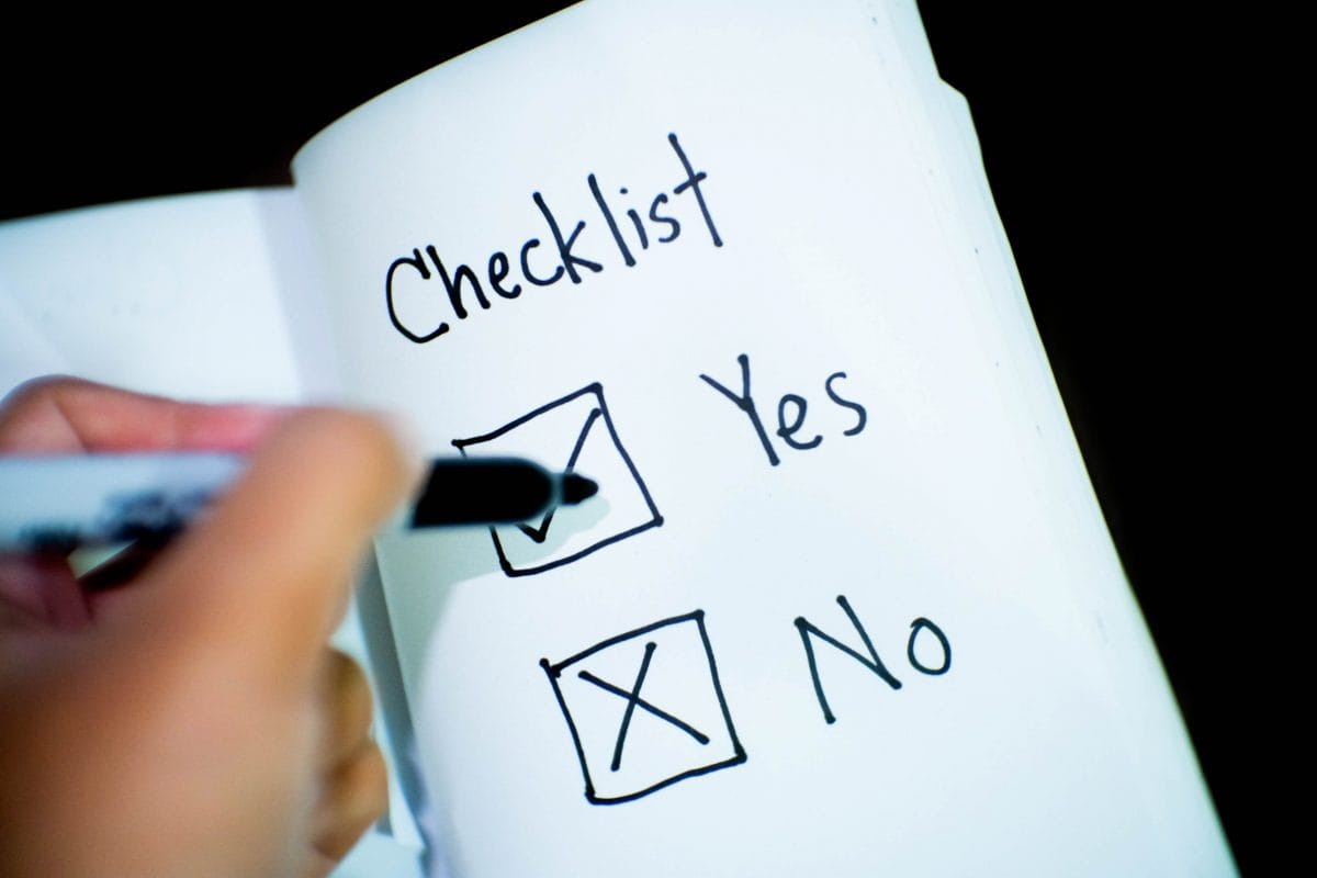 checklist yes no