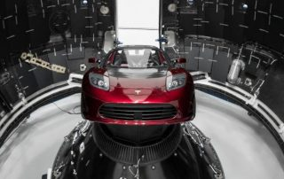 tesla roadster for space